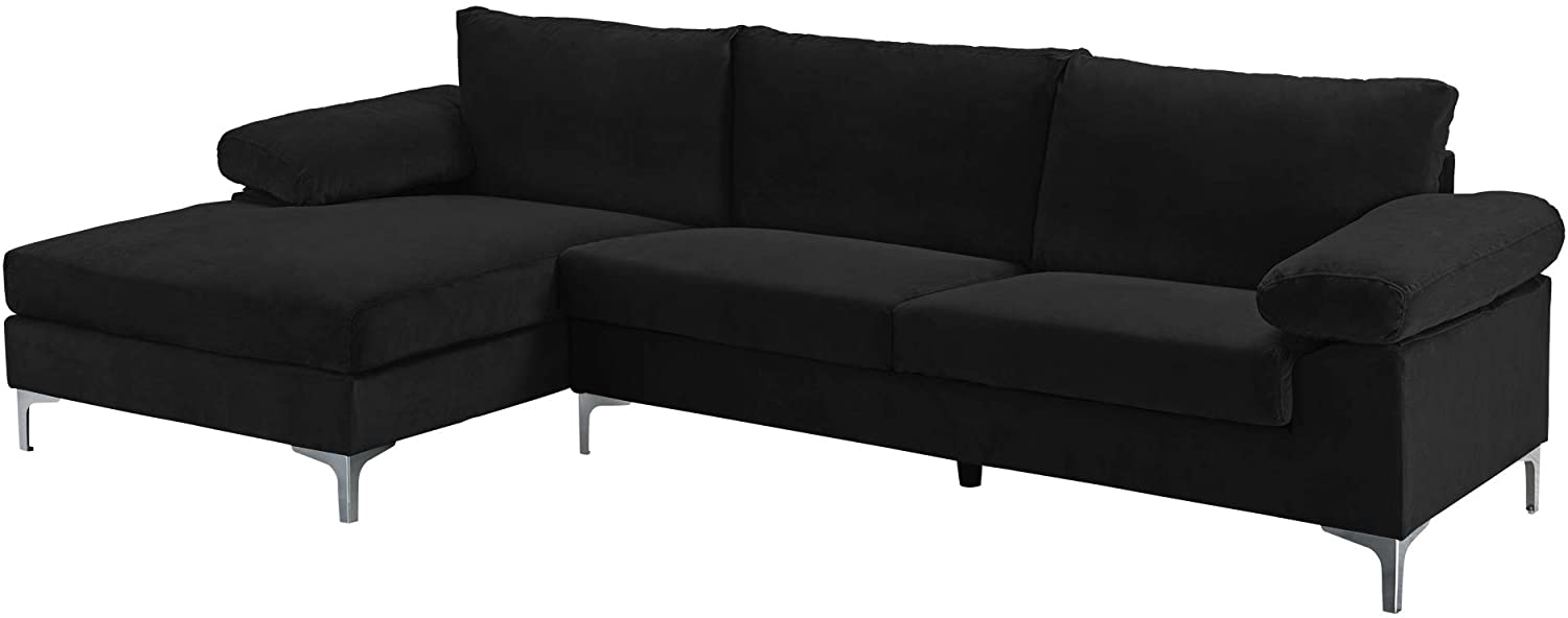 Casa Andrea Milano llc Modern Large Velvet Fabric Sectional Sofa, L-Shape Couch with Extra Wide Chaise Lounge, Coal Black