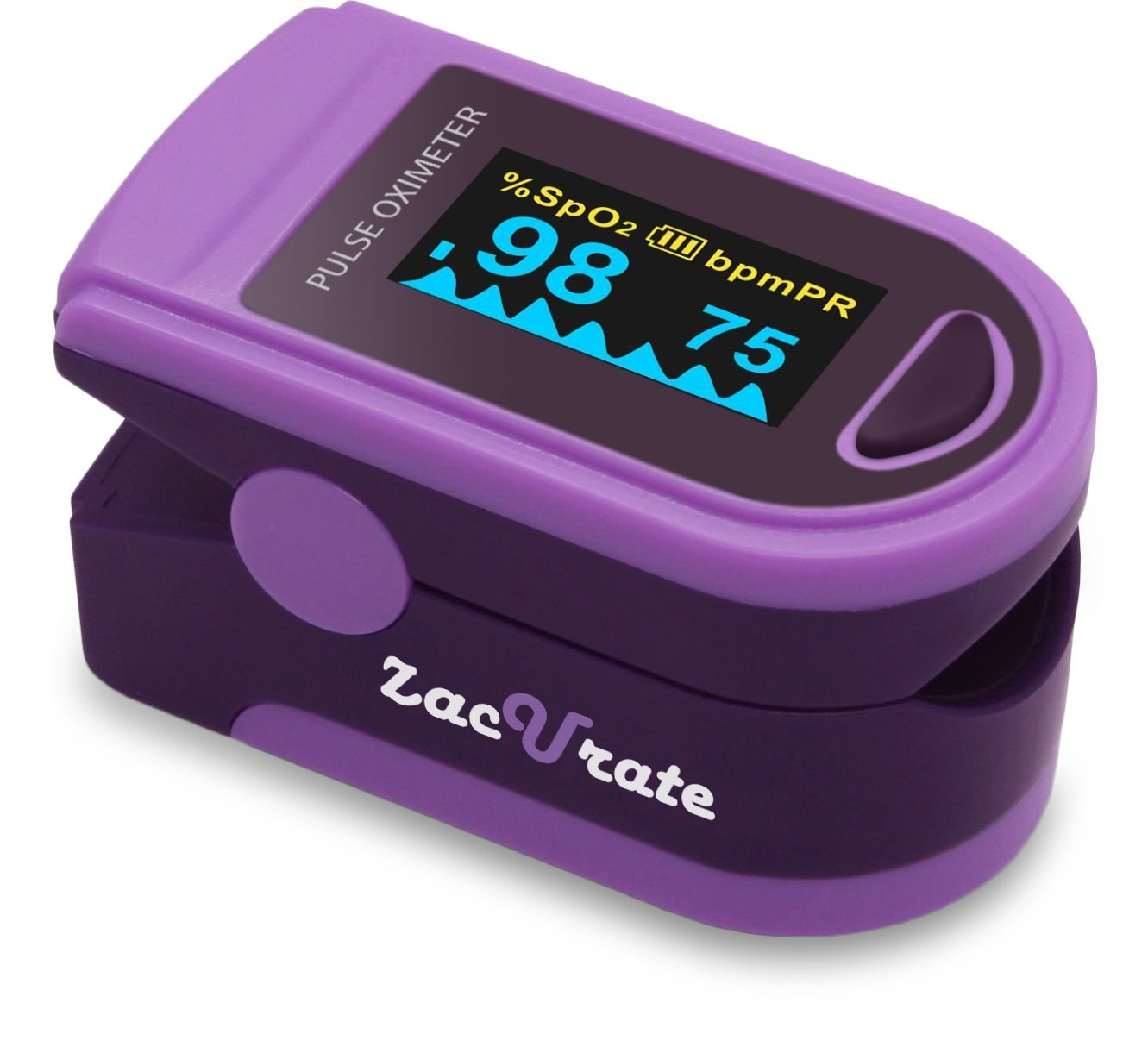 Zacurate Pro Series 500D Deluxe Fingertip Pulse Oximeter Blood Oxygen Saturation Monitor with Silicon Cover, Batteries & Lanyard (Royal Purple)