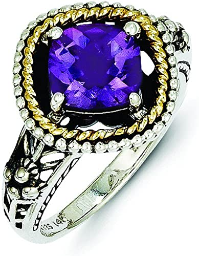 Shey Couture Sterling Silver with 14k Amethyst Ring Size 7