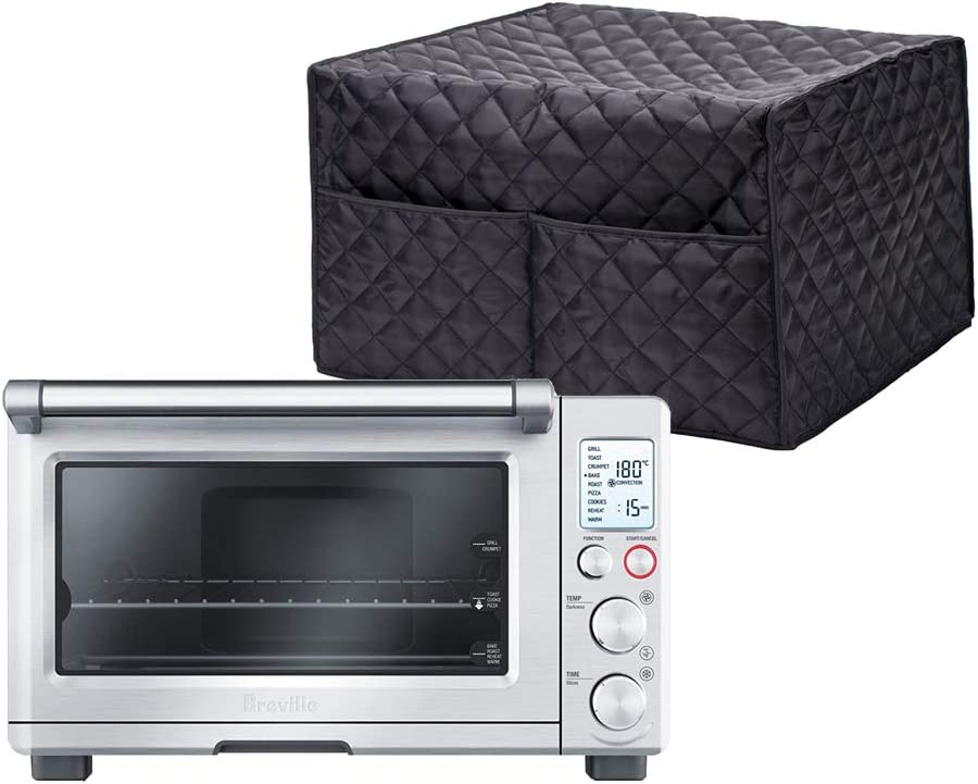 "Smart Oven Cover, ConvectionToaster Oven Cover, Large Size Square Kitchen Appliance Cover, 16.9""Lx16.1""Wx10.6""H, Diamond Collection Kitchen Appliance Case With Two Big Pockets,Provide Yeal Around Protection For Your Appliance (Black)"