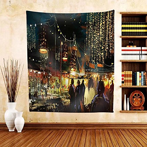 Gzhihine Custom tapestry Painting of Shopping Street City with Colorful Nightlife - Fabric Tapestry Home Decor - Shopping Kansas City Outlets