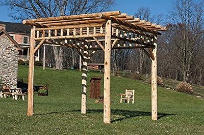 Cedar Log 12' x 12' PERGOLA - Rustic Brown Stain