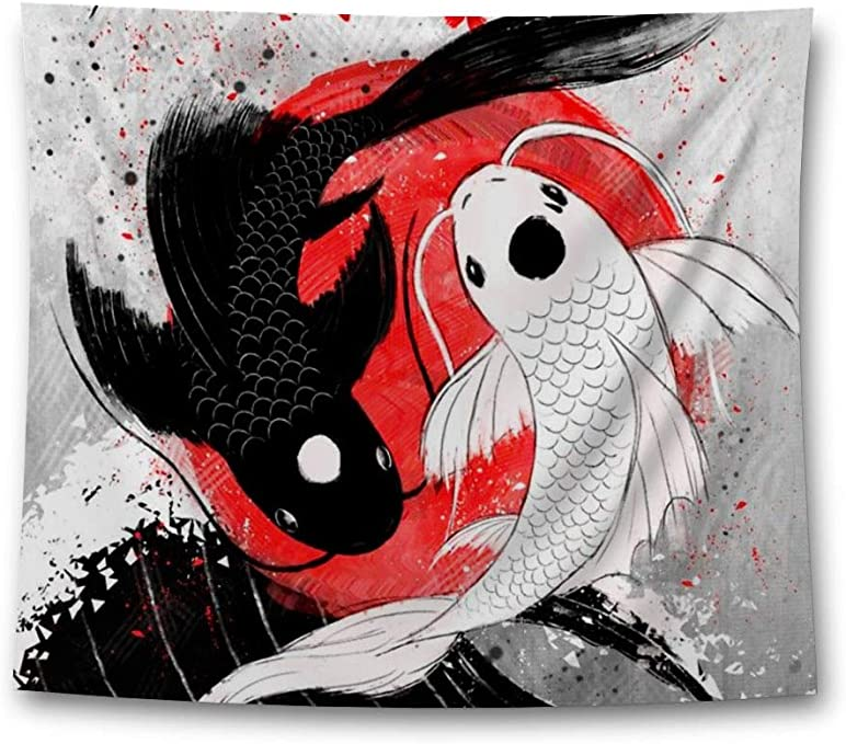 Amazon Com Funny Ugly Christmas Sweater Koi Fish Tapestry Wall Hanging Yin Yang Home Decor 40 X 60 Home Kitchen