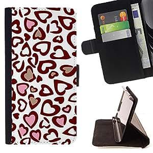 - Leopard Love Heart Print - Estilo PU billetera de cuero del soporte del tir???¡¯????n [solapa de cierre] Cubierta- For Sony Xperia Z1 L39 £š Devil Case £©