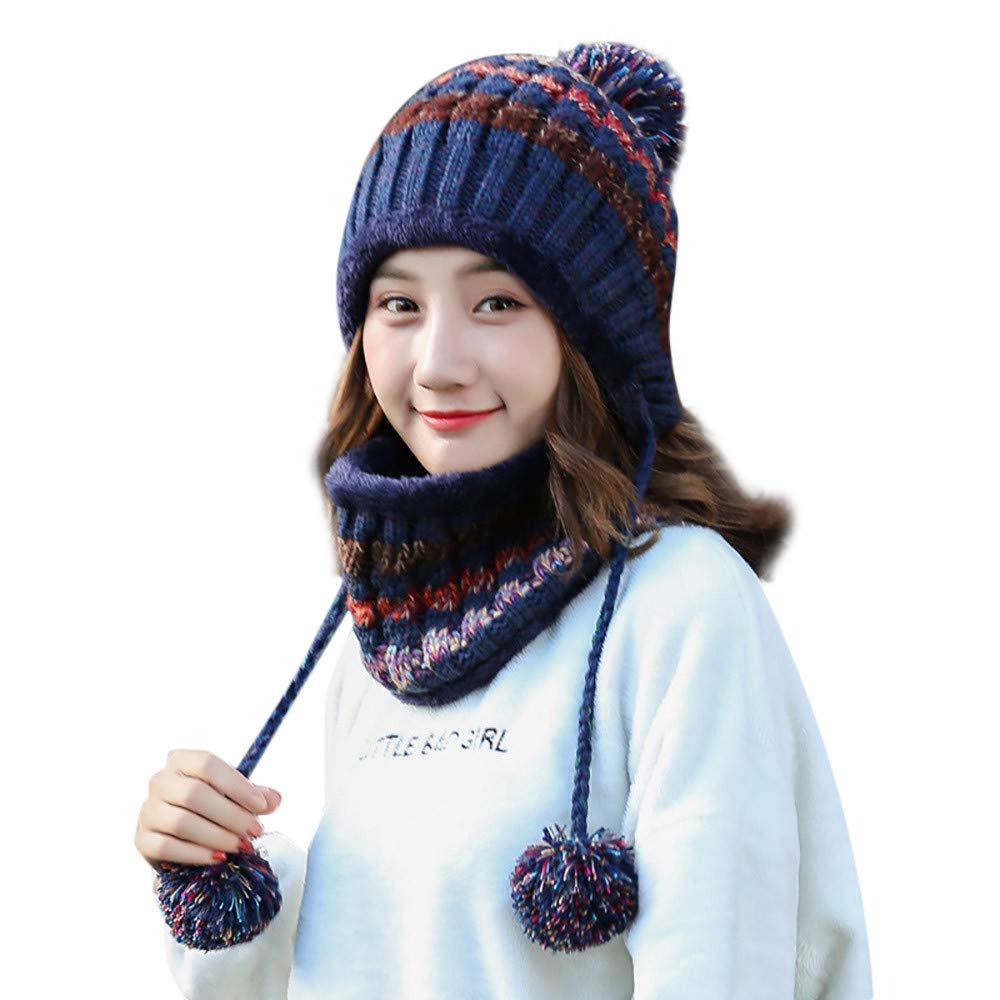 Togelei Fleece gefüttert Frauen Strick Beanie Schal Set Mädchen Winter Ski Hut mit Ohrenklappe Pompom Damen verdicken Ohrenschützer Latz-Set Mädchen Strickmütze