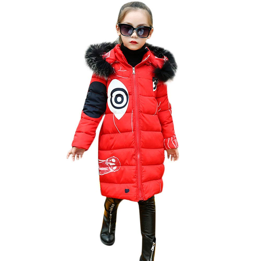 BaZhaHei Toddler Kids Baby Girls Down Jacket Winter Thick Warm Padded Coat Cartoon Print Faux Fur Hooded Overcoat Long Parka Outerwear for 3-8 Years Old Children