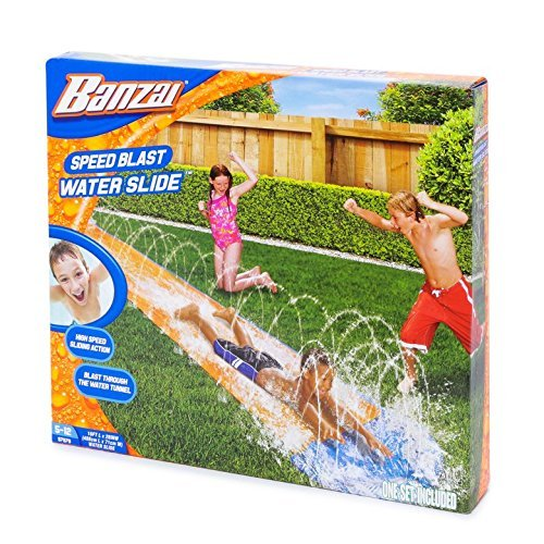 GRAYERA SPEED BLAST WATER SLIDE BACKYARD GRASS SUMMER FUN FOR KIDS JUST ADD WATER HOSE AND GO ALSO INCLUDES BONUS OCEAN BALL FOR MORE WATER FUN