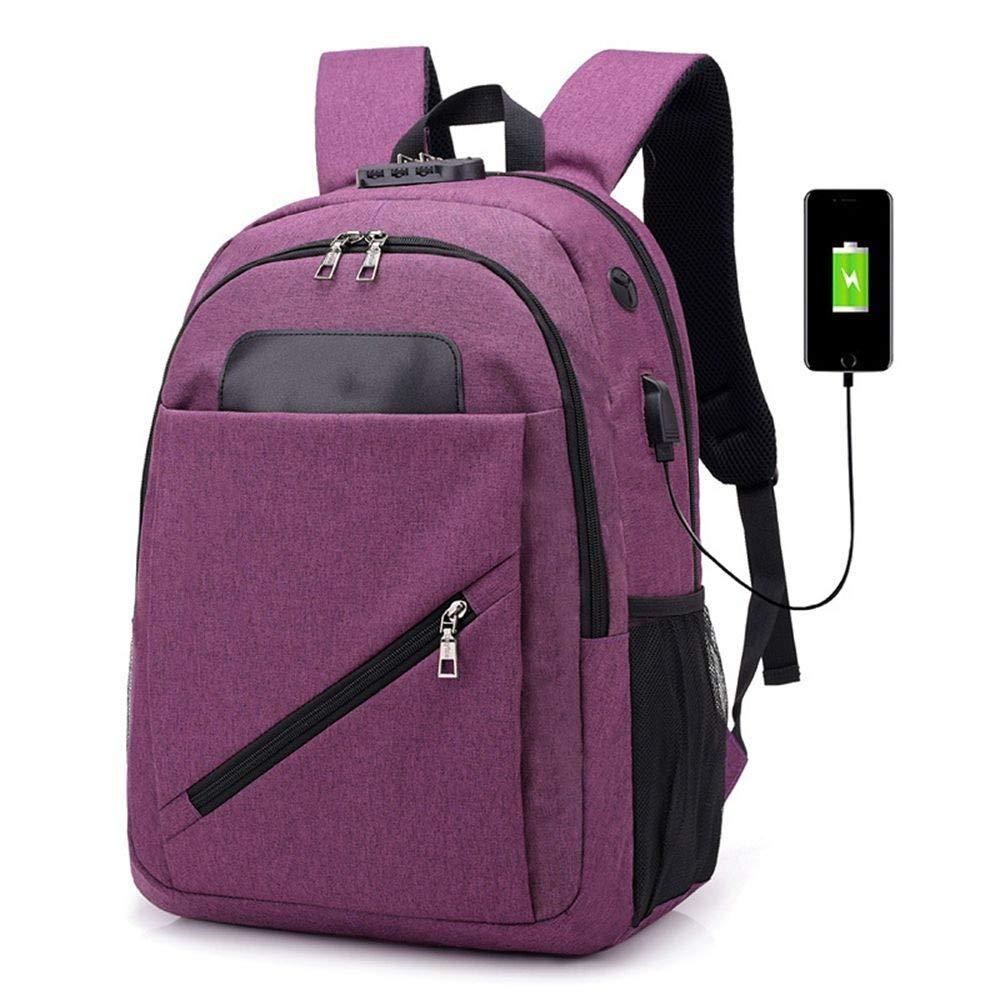 DYR USB Computer Bag Outdoor Backpack Men and Women Shoulder Bag Leisure Travel Bag Student Bag Handbag Shoulder Bag, Purple, 15.6 Inch