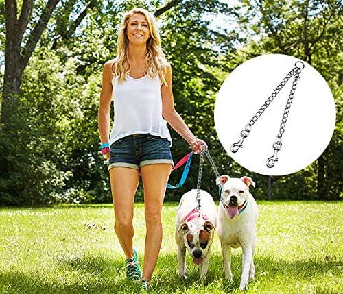 4.0 mm * 70 cm Doble Correa Perro para Entrenamiento de Caminata Jinlaili Correa Doble para Perros Metal Cadena de Perro Duradera para Dos Perros
