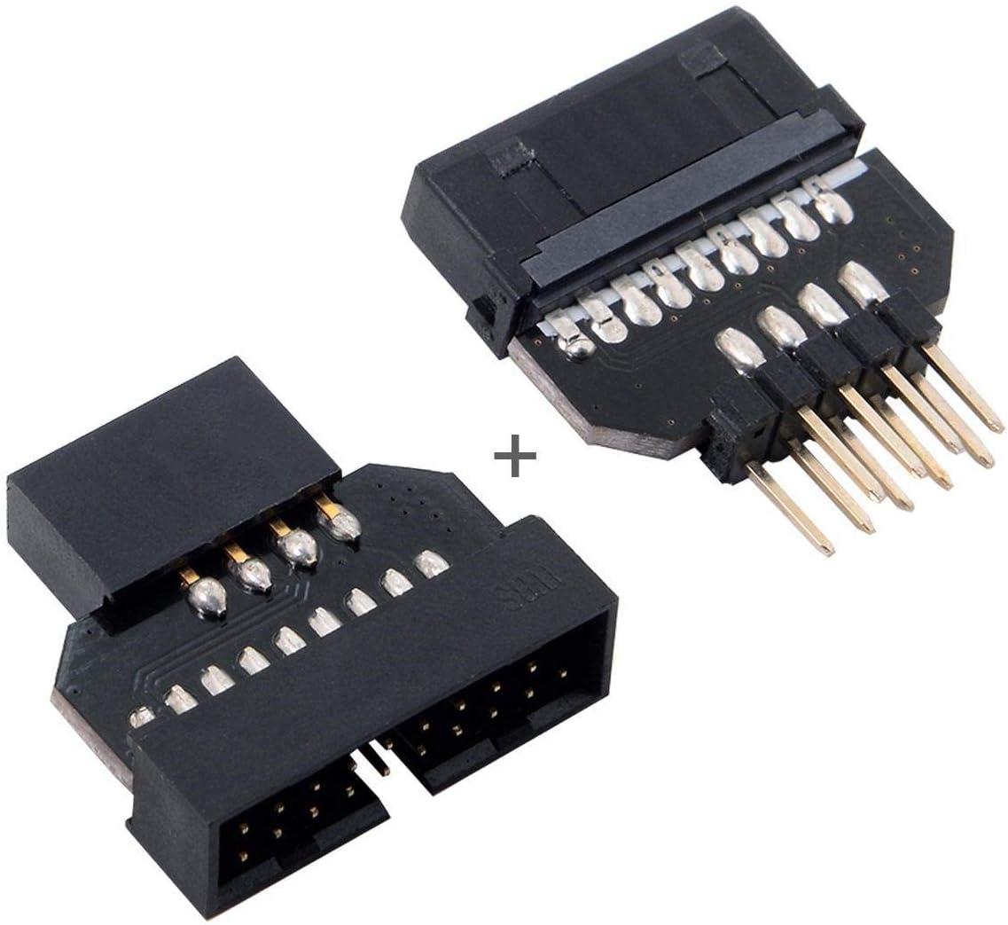 Generic Chenyang Motherboard USB 3.0 20pin Header Female to Reversible USB 2.0 9Pin Housing Adapter 1set Black