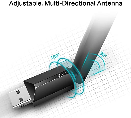 TP-Link Archer T2U Plus - Adaptador wifi usb 5G & 2.4G Hz, Antena Wi-Fi AC 600 Mbps, Doble Banda con Antena Externa y Señal Potente, Turbo 256QAM, ...