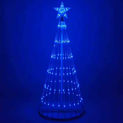 Outdoor Christmas Tree With Lights.Wintergreen Lighting 14 Function Led Light Show Cone Christmas Tree Outdoor Christmas Decorations 6 Blue