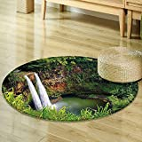 Mikihome Small Round Rug Carpet Landscape Majestic Twin Wailua Waterfalls Kauai Hawai Greenery Forest Grass Nature Scenic View Green Door mat Indoors Bathroom Mats Non Slip R-24