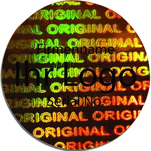 EtikettenWorld BV, EW-H-2800-GO-ts-700, 700 Stück Hologrammaufkleber, 2D, 15x15mm Goldfarbige Metallfolie, Metallfolie, Metallfolie, bedruckt in schwarz mit Ihrem Wunschtext Logo, Hologramm Etiketten, selbstklebend, Hologramm Aufkleber, Sicherheitssiegel, Garantiesiegel, Gara 69393f