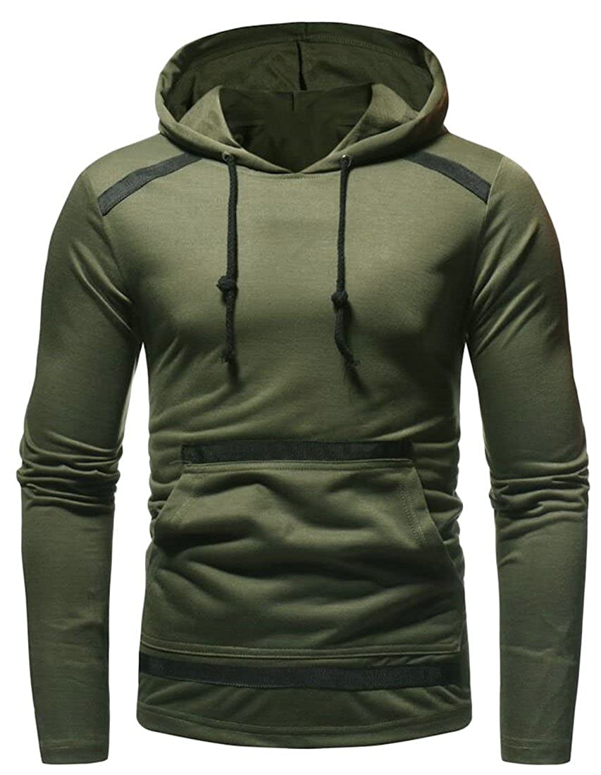 Zantt Mens Hooded Hoodies Solid Long Sleeve Slim Fit Hipster Pullover Sweatshirts
