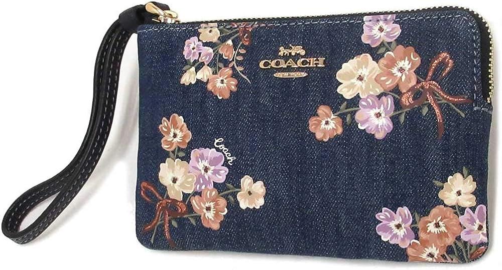 Coach Corner Zip Wristlet With Painted Floral Box Print Denim 92622