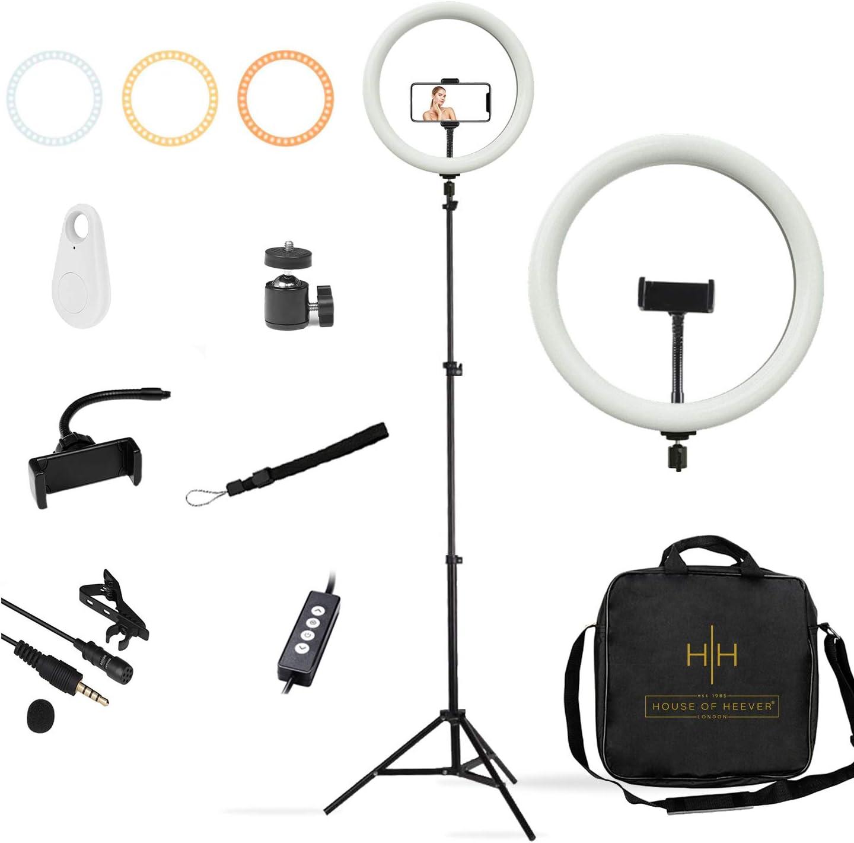 Aro de luz 30,5 cm con Trípode – Luces Led Kit Básico Todo en 1 para Emisiones y YouTube – Micrófono, Disparador Bluetooth, Luz de Maquillaje, Trípode para Móvil y Cámara Réflex, Graduable