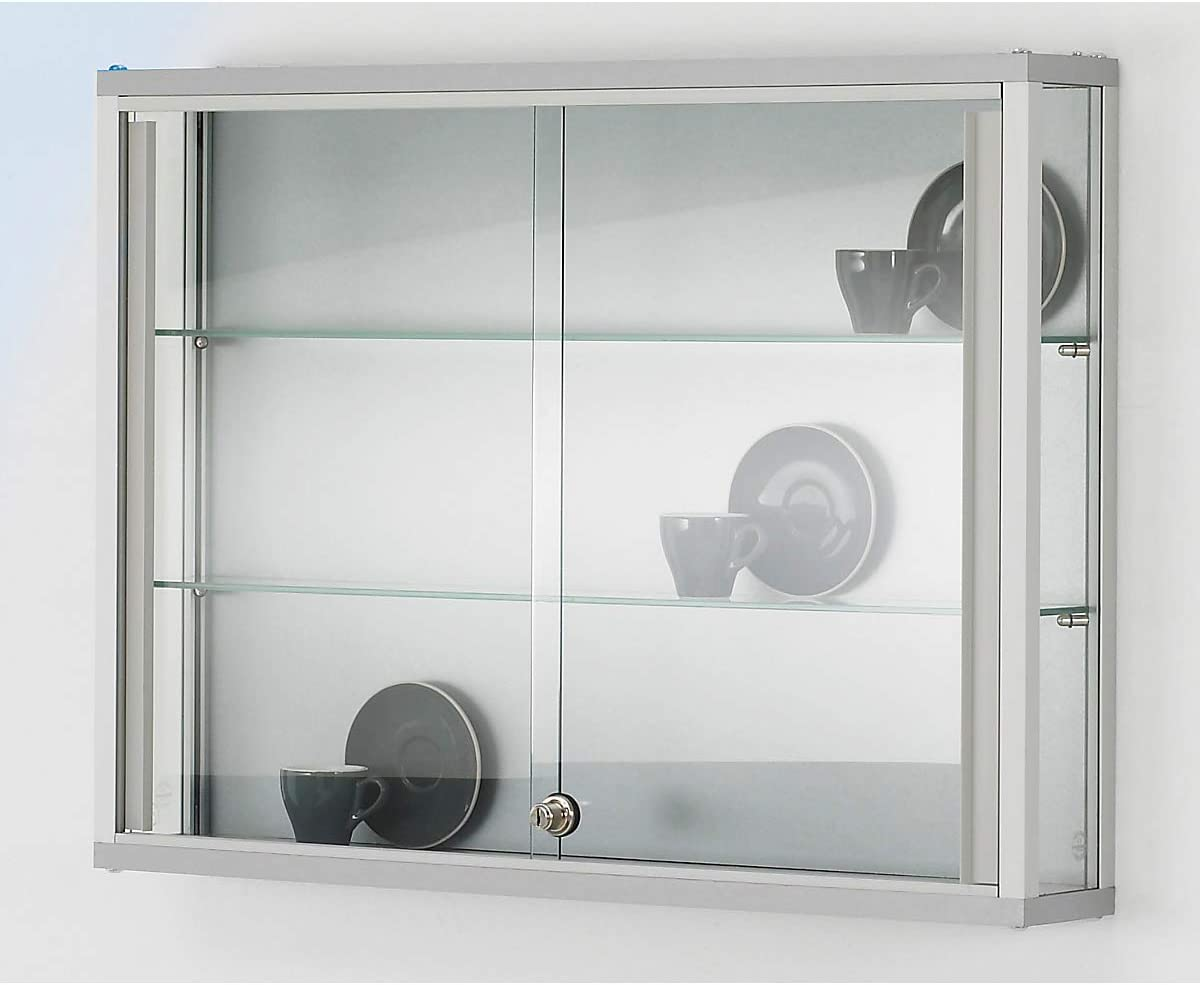 Pared vitrina, Alto 800 x 120 x 590 mm, perfiles de aluminio, 2 G lasböden, puertas correderas, cerradura de cilindro: Amazon.es: Oficina y papelería