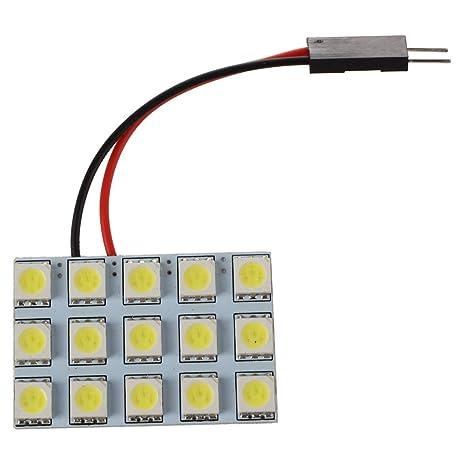 TOOGOO(R) Panel de iluminacion interior del coche 2x 15 SMD 5050 Adaptador Bombilla