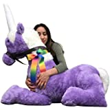 American Made Purple Giant Stuffed Unicorn Soft 4 Feet Wide, 3 Feet Long