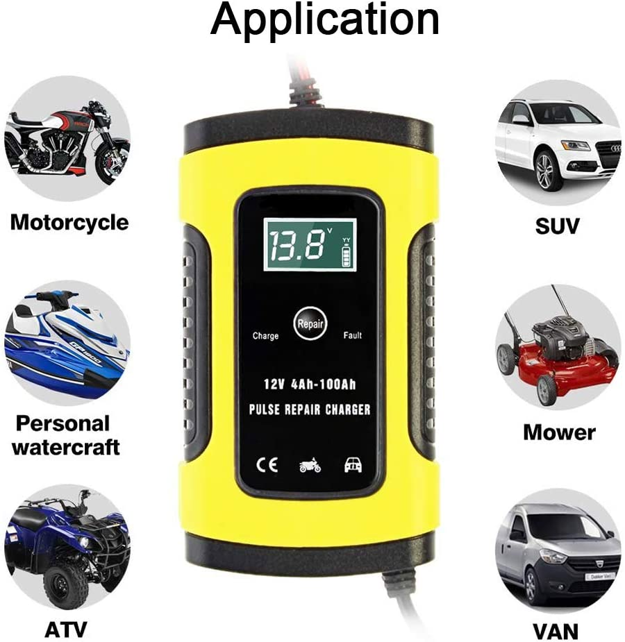 Boat 12V 6A Battery Charger Automatic Maintainer with LCD Display for Motorcycle RV ATV SUV Lawn Mower Red Automatic Smart Battery Charger
