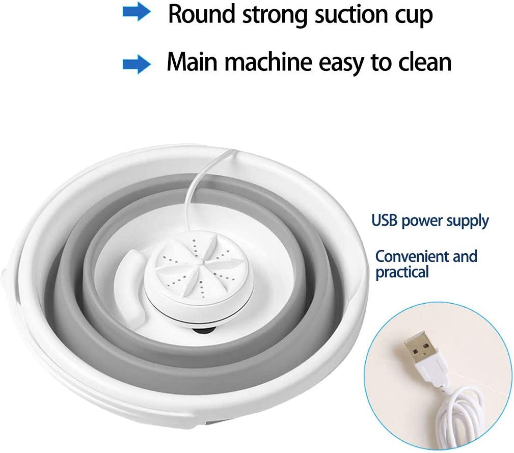 Blue 2020 Newest Portable Washing Machine Portable Ultrasonic Turbine Washer with Foldable Tub Personal Rotating and USB Cable Mini Washing Machine for Camping Dorms Business Trip College Rooms