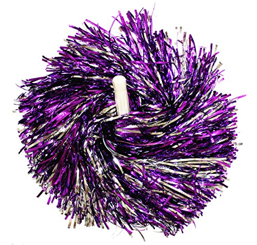 kuugear Pair, Metallic Cheerleading Pom Pom for Cheerleading Squads, Party Costume, Hen Party, Holiday Celebration, Stage Performance, and Sports - Purple/Silver]()