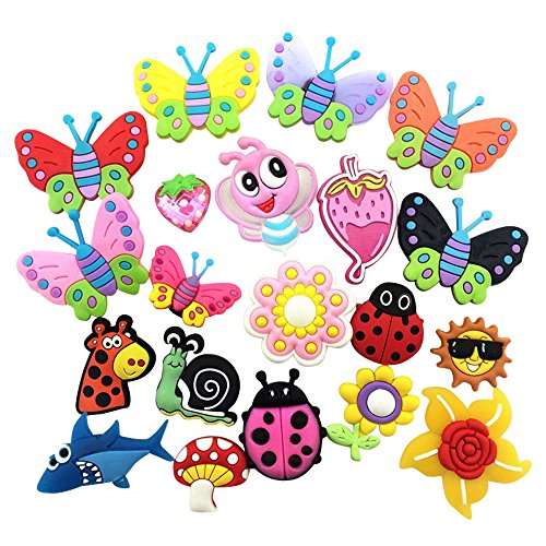 20 Butterfly Ladybug Flowers Crystal Straw Berry Charms Fits Jibbitz Croc Shoes & Wristband Bracelet ()