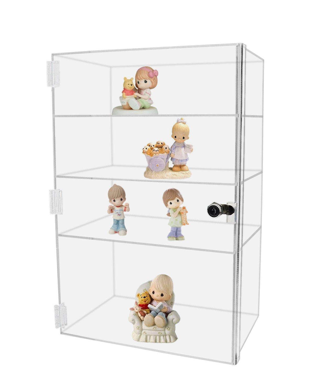 Vertical Acrylic Display Case Premium Clear Acrylic 19'' High x 12'' Wide x 8'' Deep