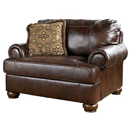 Ashley Furniture Signature Design   Axiom Casual Oversized Leather Arm Chair    Walnut Brown