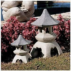 Design Toscano Pagoda Lantern Sculptures Medium and Large Set