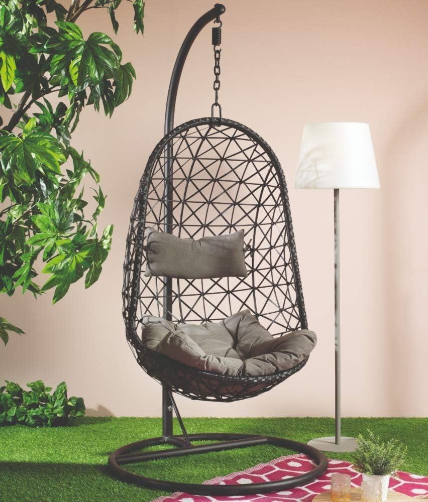 Dawsons Living Vienna Hanging Egg Chair Outdoor And Indoor Rattan Weave Swing Hammock Hanging Stand Black Amazon Co Uk Garden Outdoors