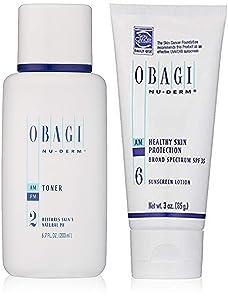 Obagi Nu-Derm Toner, 6.7 Fl Oz and Obagi Nu-Derm Healthy Skin Protection Broad Spectrum SPF 35 Sunscreen, 3 oz.