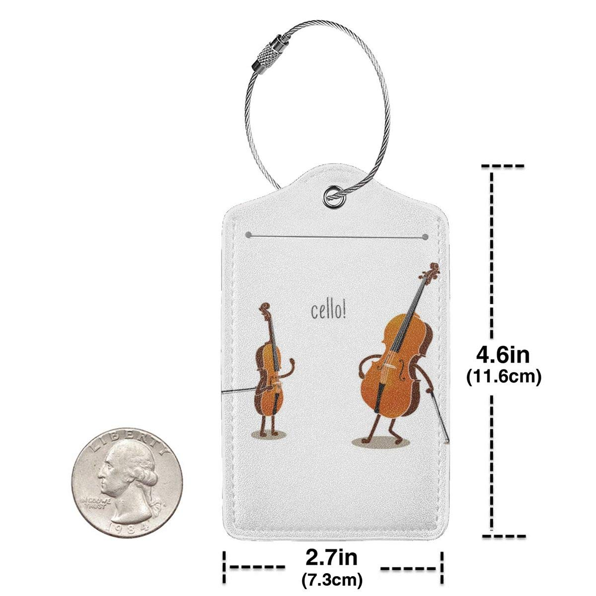 Cello Leather Luggage Tags Personalized Privacy Cover With Adjustable Strap