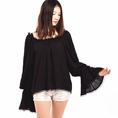 2f78b52c86c42 Blessume Women Pirate Blouse Medieval Off Shoulder Peasant Chemise Wench  Shirt (Black