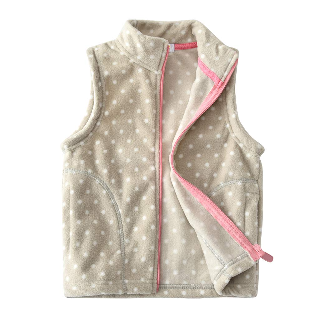 Uobzyaq Little Girls Winter Polka Dot Fleece Vest Zipper Up Waistcoat with Side Pockets
