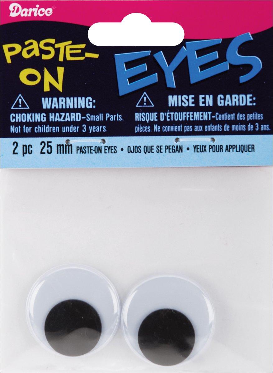 Paste On Wiggle Eyes 25mm Black (12 Pack)