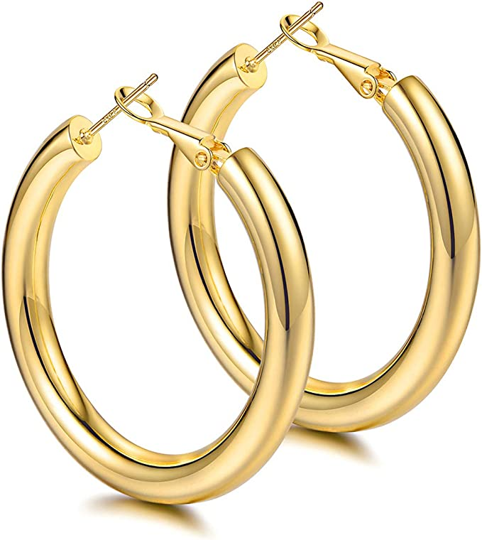 Hoop Earrings 58 Wide Sterling Silver with Thickened rounded Edge smooth finish simple
