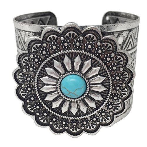 Gypsy Jewels Simulated Turquoise Western Style Silver Tone Wide Cuff Bracelet (Round Concho)