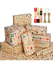 Simpeak 6PCS Wrapping Paper for Birthday, 70 ∗ 50 cm Wrapping Paper for Children with 20M Kraft Paper Rope, Double-sided Adhesive Tape and Sticker