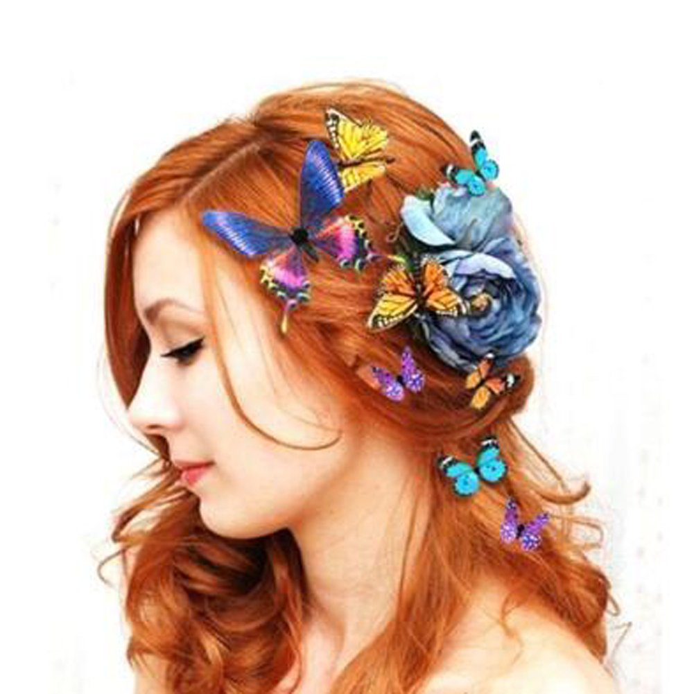 Women Lady Girls Bridal Butterfly Hairclip Beautiful Colorful   B01G1MIOM6
