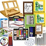 US Art Supply 124-Piece Deluxe Watercolor Painting & Sketch Drawing Set with ...