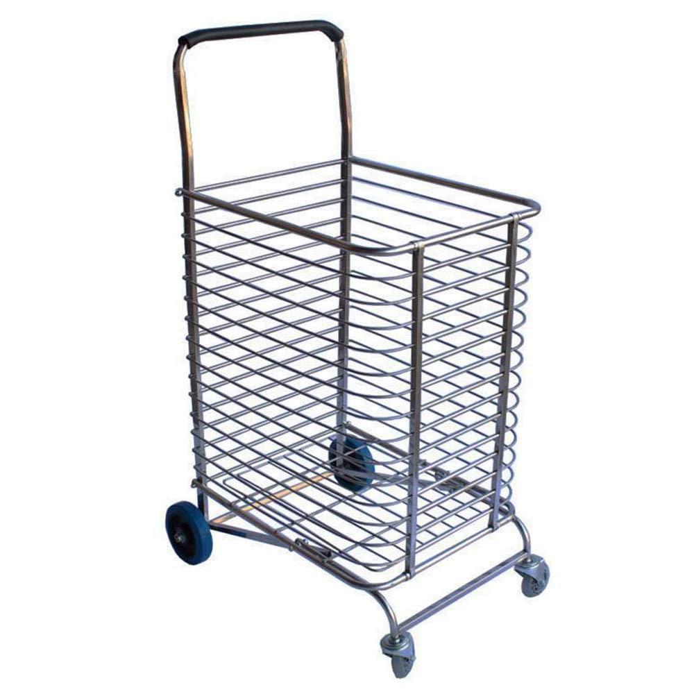 LI MING SHOP ステンレス鋼折りたたみショッピングカート動的負荷150キロ食料品荷物旅行回転ホイールに適した B07Q5T4QGF
