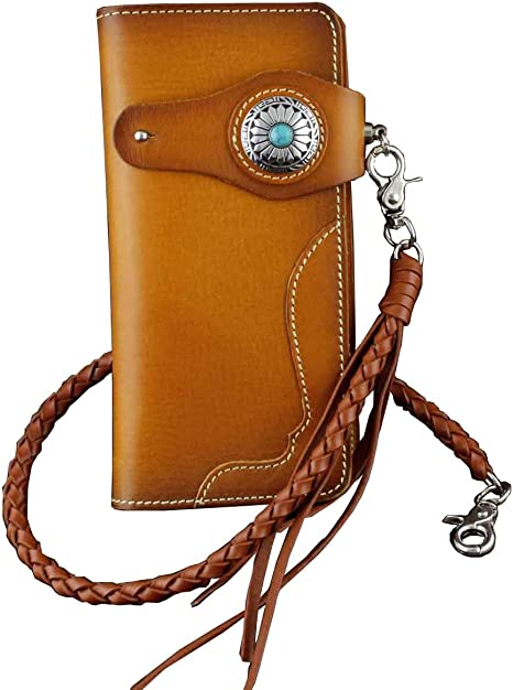 Trucker style wallets made in USA Handmade Biker chain genuine braided leather
