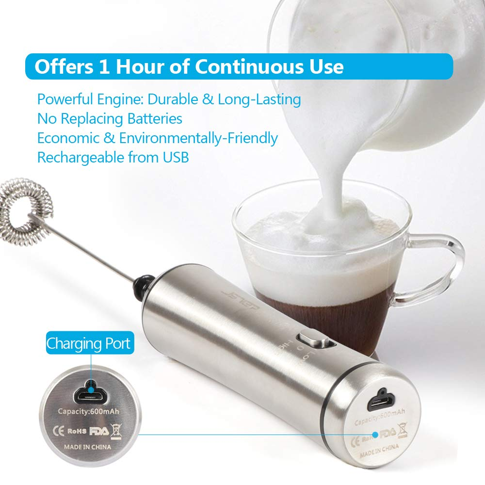 JSVER Milk Frother Rechargeable Electric Foam Maker for Coffee, Latte, Cappuccino, Hot Chocolate 2-Speed Handheld Electric Milk Frother Portable Automatic Foam Maker Sleek Drink Mixer by JSVER (Image #2)