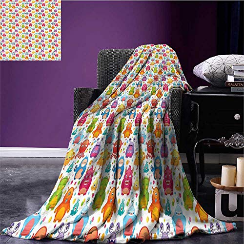 sunsunshine Alien Cozy Flannel Blanket Mutant Monsters on Colorful Dotted Background Cute Alien Beings Design Lizard Squid Blanket for Sofa Couch Bed Multicolor Bed or Couch 80