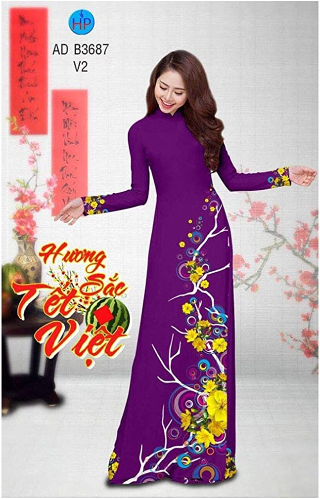 Traditional Vietnamese Long Dress Collections with Pants Silk 3D ADVN0405201938 Ao Dai