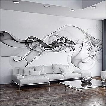 SLGJYY Benutzerdefinierte Fototapete Moderne 3D Wandbild Tapete Schwarz Weiß  Rauch Nebel Kunst Design Schlafzimmer Büro Wohnzimmer