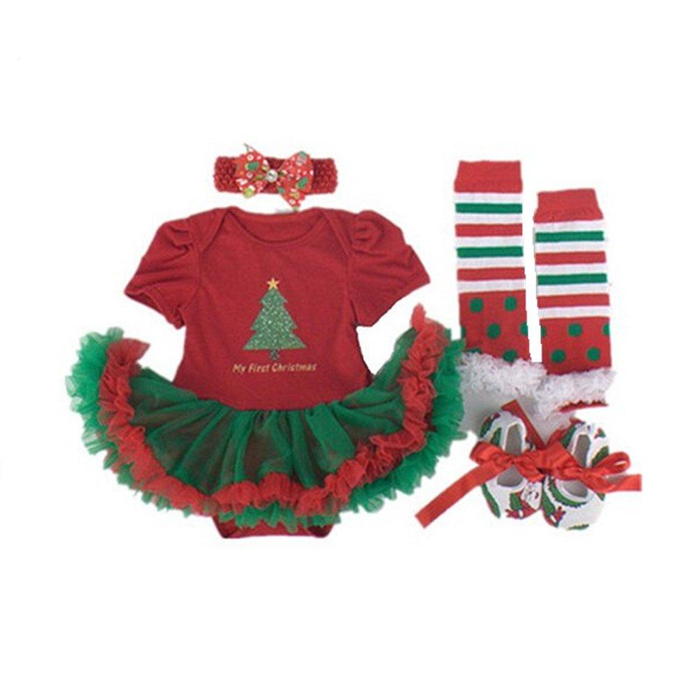 Sallyshiny Christmas Costume Newborn Baby Girl Romper Dress Outfit Tutu Skirt Bodysuit Clothes 4pcs/set Headband Shoes Leg Warmer