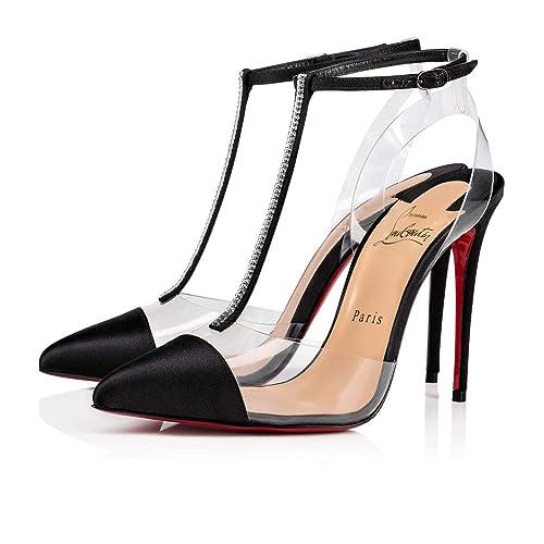 cf7a5c1a037 Christian Louboutin Women's 1190344Bk01 Black Satin Sandals: Amazon ...